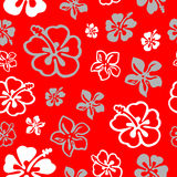 Seamless flower pattern over red stock illustration