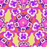 Seamless flower pattern pink violet pansies on an orange  Royalty Free Stock Photography