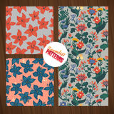 Seamless flower pattern set. Summer tiny floral backgrounds on wood planks. Stock Photos