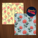 Seamless flower pattern set. Summer tiny floral backgrounds on wood planks. Royalty Free Stock Photo