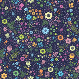 Seamless flower pattern. Vector forest design, childish style. Plant ornament, repeating floral background. Stock Photo
