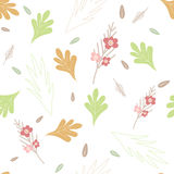 Seamless flower pattern on white background Stock Images