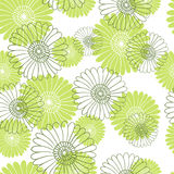 Seamless flower pattern on white background. Light green flowers Stock Photos