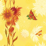 Seamless flower pattern, yellow Stock Photography
