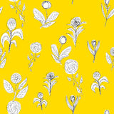 Seamless flower pattern on yellow Stock Image