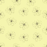 Seamless flower pattern on yellow background Royalty Free Stock Image