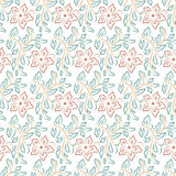 Seamless flower, plant vector pattern background. Royalty Free Stock Image