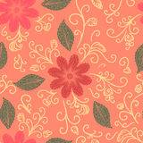 Seamless flower, plant vector pattern background. Royalty Free Stock Photos