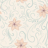 Seamless flower, plant vector pattern background. Stock Photos