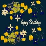 Seamless flower retro background pattern in. Cartoon Stock Image
