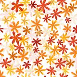 Seamless flower retro pattern in bright autumn col. Seamless flower texture in bright reds, orange and amber Royalty Free Stock Photos