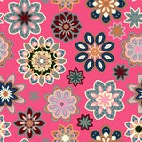 Seamless flower retro pattern in vector. Blue gray flowers on pink background. Stock Image