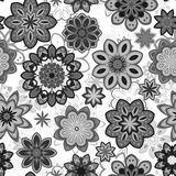 Seamless flower retro pattern in vector. Gray flowers on white background. Stock Images