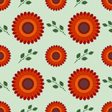 Seamless flower vector pattern, symmetrical background with red flowers and leaves, over light green backdrop Royalty Free Stock Images