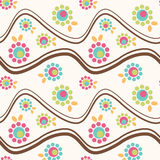 Seamless flower wavy mountains. Mountain waves with flowers. Seamless tile Stock Photography