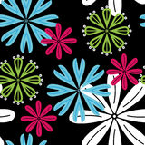 Seamless flowers background. Abstract colored seamless pattern on black background with flowers - vector illustration. You can use it to fill your own background Royalty Free Stock Photography