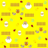 Seamless  flowers and birds background pattern in Royalty Free Stock Image