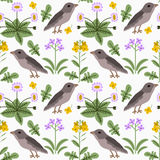 Seamless flowers and birds Royalty Free Stock Images