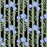 Seamless flowers with blue flowers pattern on black  background. Seamless flowers with blue flowers pattern.stylish texture on black background with green bands Stock Images