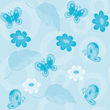 Seamless flowers and butterflies blue Stock Photos
