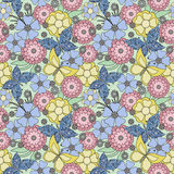 Seamless flowers with butterfly pattern on light green  background Royalty Free Stock Photography