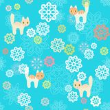 Seamless flowers and cats background. Stock Image