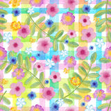Seamless flowers cosmos on a gingham checks yellow colors.  blue flowers on stripes ornament. Watercolor realistic Royalty Free Stock Photo