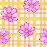 Seamless flowers cosmos on a gingham checks yellow colors.  blue flowers on stripes ornament. Watercolor realistic Royalty Free Stock Photography