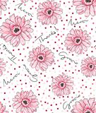 Seamless flowers and dot pattern Stock Image
