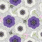Seamless flowers. Gentle seamless polka dot pattern with flowers. Stock Photos