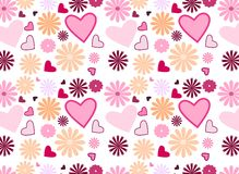 Seamless flowers and hearts Royalty Free Stock Image