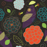 Seamless Flowers and Leaves Pattern Stock Image