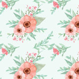 Seamless flowers and leaves pattern Royalty Free Stock Photography