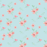 Seamless flowers and leaves pattern. Seamless flowers and leaves wallpaper pattern vector on plain background Royalty Free Stock Photos
