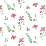 Seamless flowers and leaves pattern Royalty Free Stock Photo