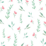 Seamless flowers and leaves pattern Stock Photos