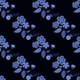 Seamless  flowers pattern black background. Seamless blue flowers pattern black background Stock Image