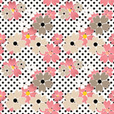 Seamless flowers pattern with black dots, circles background Stock Photo