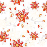 Seamless red flowers pattern. Seamless flowers pattern. Bright yellow red colored flowers on white background Stock Images