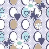 Seamless flowers pattern with dots, circles and butterfly backgr Stock Photos