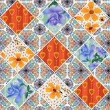 Seamless flowers pattern patchwork background Stock Image
