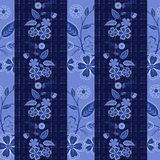 Seamless  flowers pattern striped background. Seamless blue flowers pattern striped background Royalty Free Stock Photos