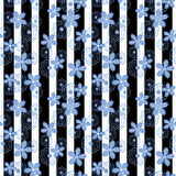 Seamless  flowers pattern on striped background. Seamless light blue flowers pattern on striped background Royalty Free Stock Photos