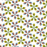 Seamless flowers pattern in yellow, red and green. Seamless bright flowers pattern in yellow, red and green Royalty Free Stock Image