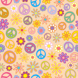 Seamless Flowers and Peace Signs Royalty Free Stock Images