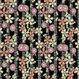 Seamless flowers with pink flowers pattern on black  background. Seamless flowers with pink flowers pattern.stylish texture on black background with gray bands Royalty Free Stock Photo