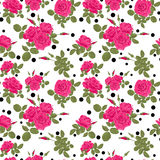 Seamless flowers of pink roses pattern with black dots, circles Royalty Free Stock Photos