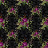 Seamless flowers of poppies pattern on black background Stock Image