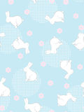 Seamless flowers and rabbits background. Royalty Free Stock Images