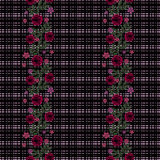 Seamless flowers from red roses pattern on black background Royalty Free Stock Image